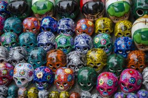 Traditional mexican souvenir skulls on the market