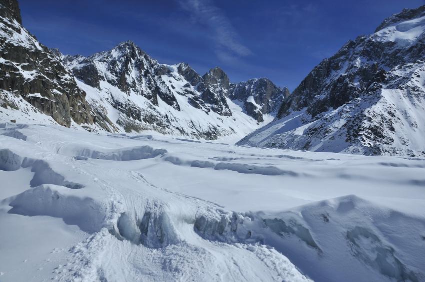 Ski tracks on a glacier