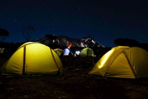 Night camping on the Kilimanjaro trail