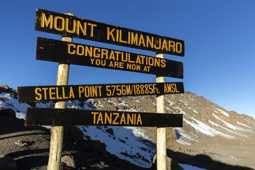 Stella Point on Mount Kilimanjaro in Tanzania, Africa