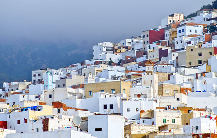 White moroccan town Tetouan near Tangier, Morocco