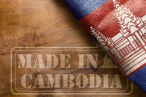Marking on wooden surface Made in Cambodia