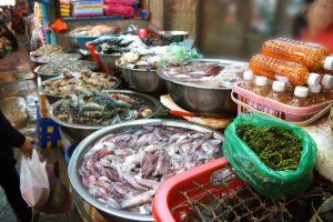 Selling seafood  in  Siem Reap