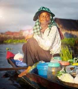 Local Cambodian Seller Floating Market Siem Reap Concept
