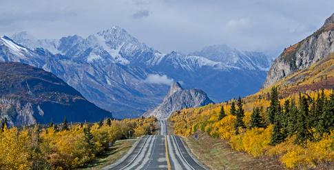 Heading towards Lion's Head along the Glenn Highway during the fall in Alaska