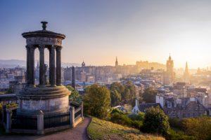 Edinburgh city in winter from Calton hill, Scotland, UK