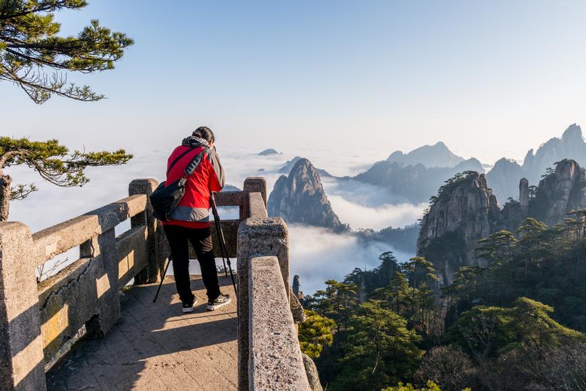 Monkey watch sea cloud ,Mt. Huangshan in Anhui, China