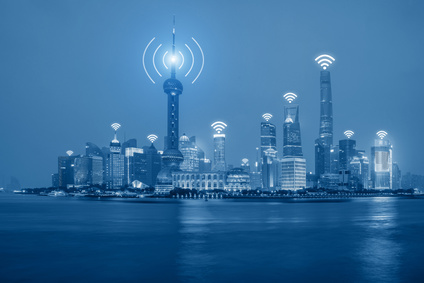 Wifi network connection in Shanghai center business district.