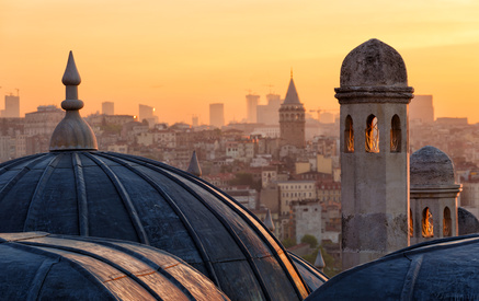 View of Beyoglu's region and Galata tower at sunrise, Istanbul