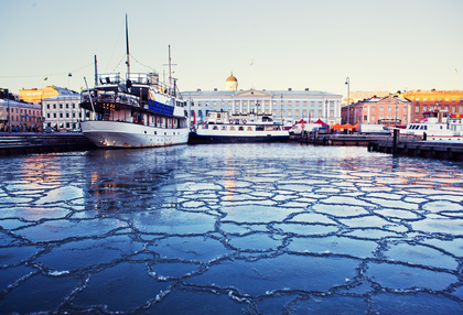 The cold morning in Helsinki, Finland.