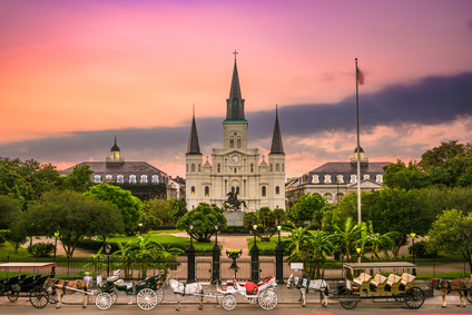 St. Louis Cathedral at Jackson Square, New Orleans, Louisiana.