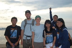 Group of students from Jakarta visiting Bali. They were very excited to practice their English.