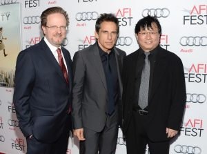HOLLYWOOD, CA - NOVEMBER 13:  (L-R) President/CEO Bob Gazzale, actor/director/producer Ben Stiller, and IDG China Chairman Hugo Shong attend the 'The Secret Life Of Walter Mitty' premiere during AFI FEST 2013 presented by Audi at TCL Chinese Theatre on November 13, 2013 in Hollywood, California.  (Photo by Michael Kovac/Getty Images for AFI) Bob Gazzale; Ben Stiller; Hugo Shong