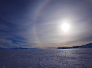 A parhelion as Ben Saunders and Tarka L'Herpiniere climb the Beardmore Glacier, Antarctica