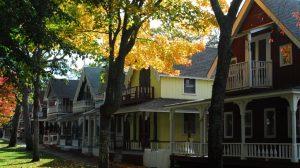 Famous gingerbread homes on Martha's Vineyard, off coast of Massachusetts.