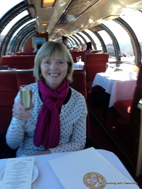 """""""On the Napa Valley Wine Train with a welcome glass of Chandon sparkling wine"""""""