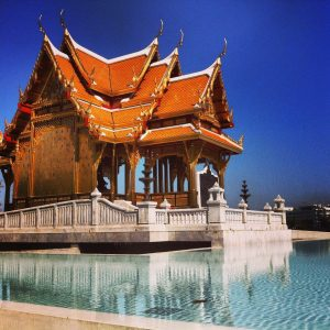 Small temple on banks of Chao Praya River near Siriraj Hospital