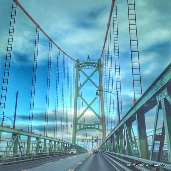 Crossing the Angus L. Macdonald Bridge into Halifax from Dartmouth