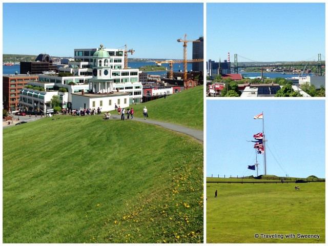 Flags flying at the Halifax Citadel National Historic Site and views from the top