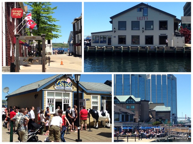 Shops and restaurants along the boardwalk on the Halifax waterfront