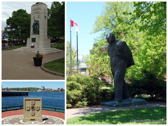 From Top left: Halifax War Memorial, Winston Churchill, Portuguese Explorer Memorial