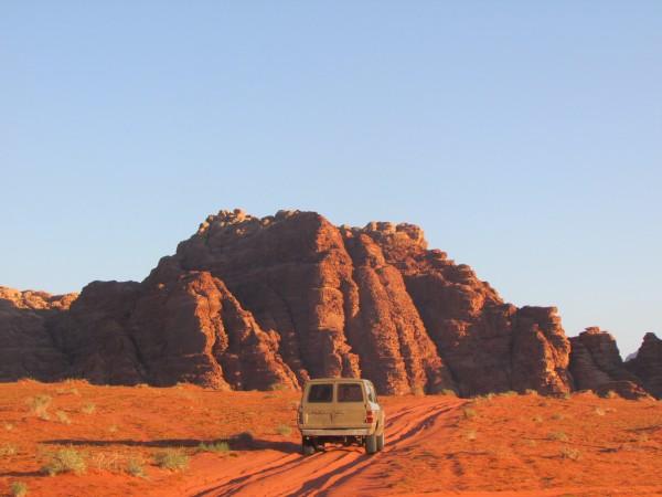 Driving around the Wadi Rum Desert