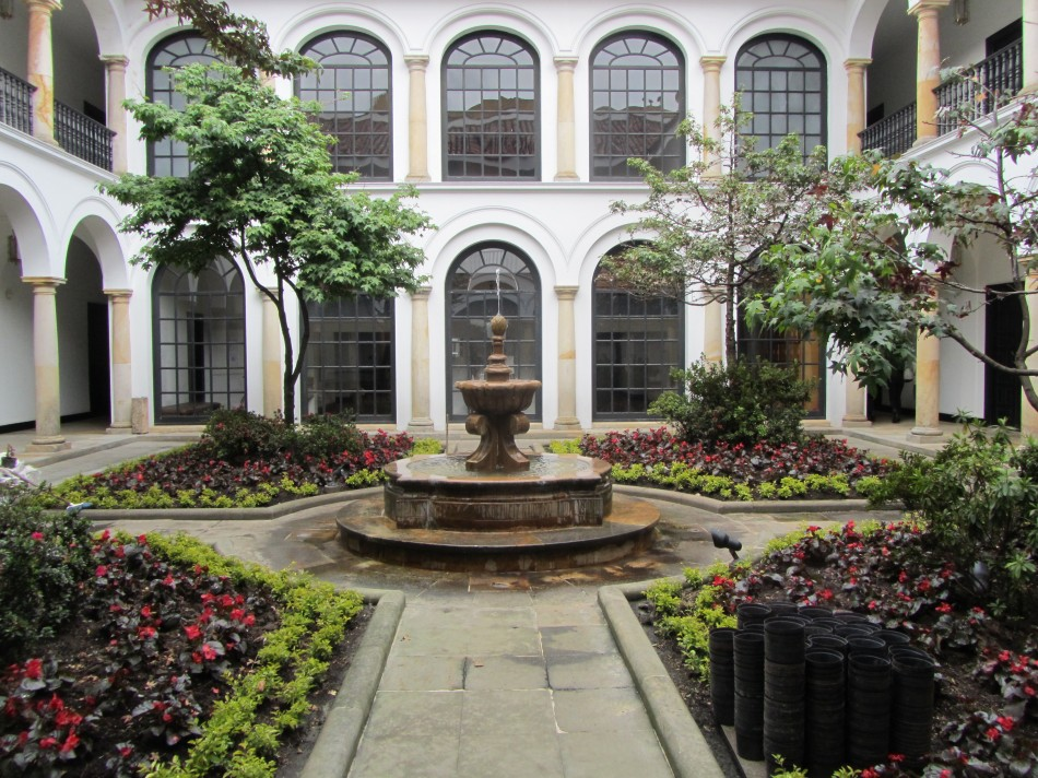 The courtyard of the Botero Museum, in the Candelaria district