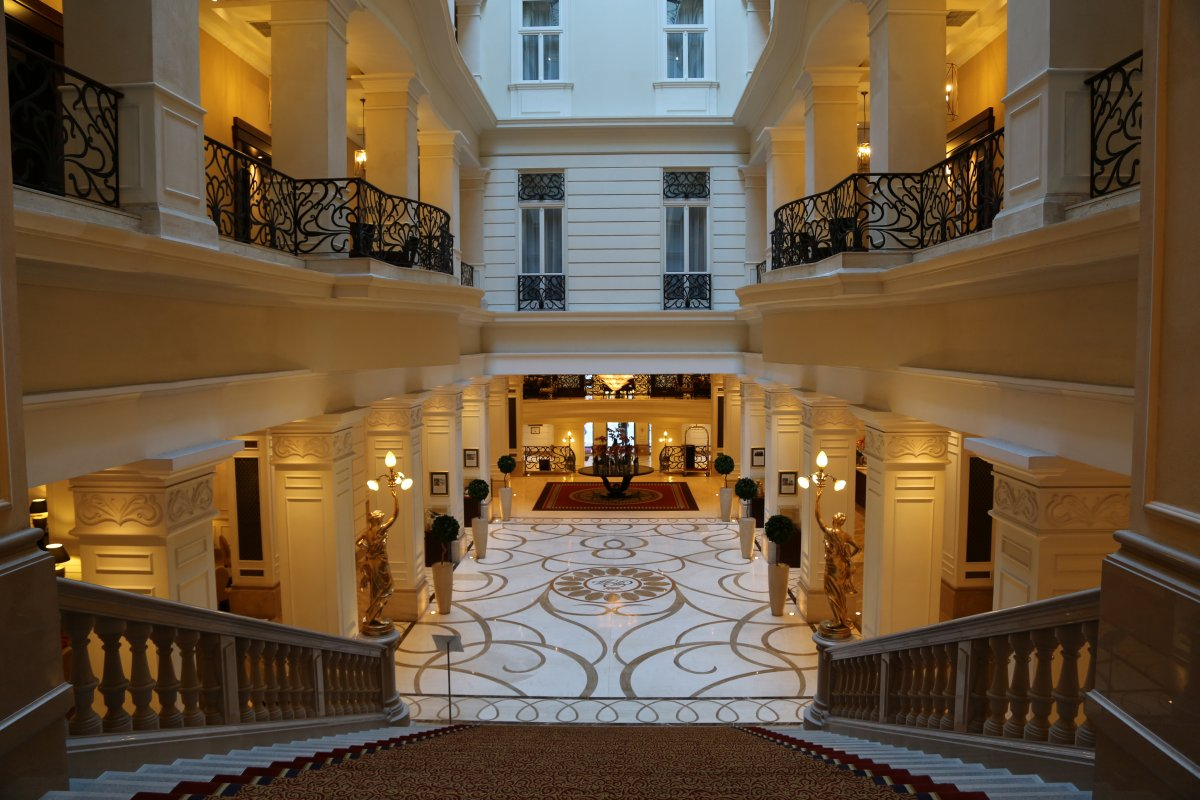 Looking down to the main lobby
