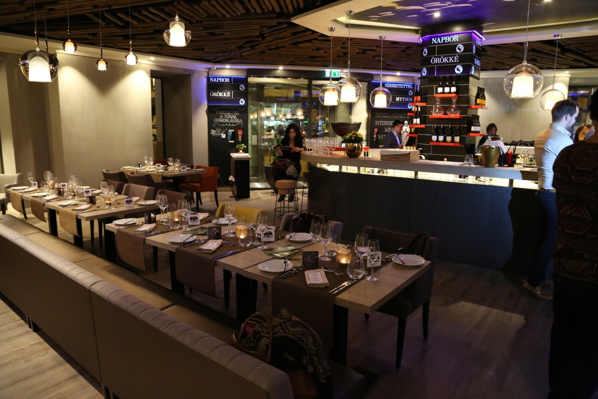 Inside the modern St. Andrea Gourmet and Wine Bar, Budapest