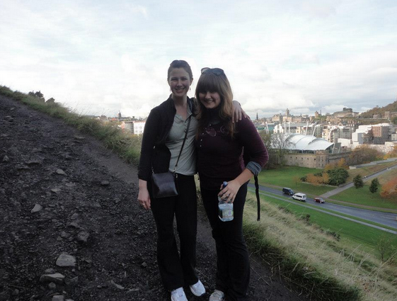 Kat and I in Edinburgh after our grueling trip to get there!