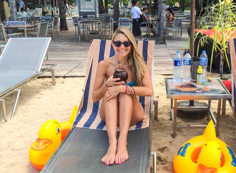 Pina Coladas on the beach in Sanur!