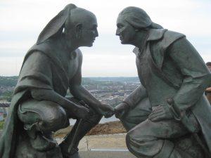 Seneca leader Guyasuta and George Washington before the French and Indian War