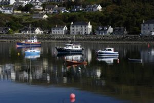 In real life, the train ends up in Mallaig, not Hogwarts. Mallaig Harbor.