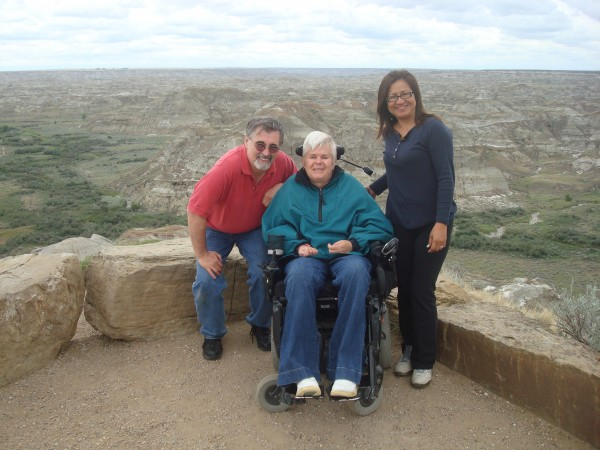 Leo, Lynn and Emelda at Dinosaur Provincial Park, Alberta