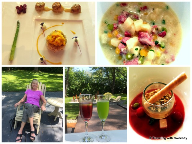 From top left: Seared scallops, risotto cake, curry pineapple-mango relish, asparagus and beets; lamb chowder; maple pudding with granola, raspberries, lychee, and jelly beans; cocktails on the terrace