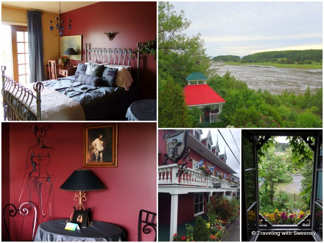 Auberge du Mange Grenouille: My uniquely-decorated room (left); views from my room (right)