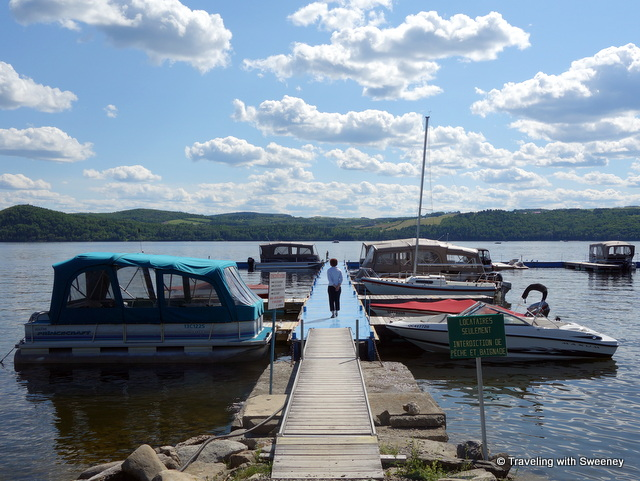 Boats at the dock of Saint-Juste-du-Lac on Lac-Témiscouata