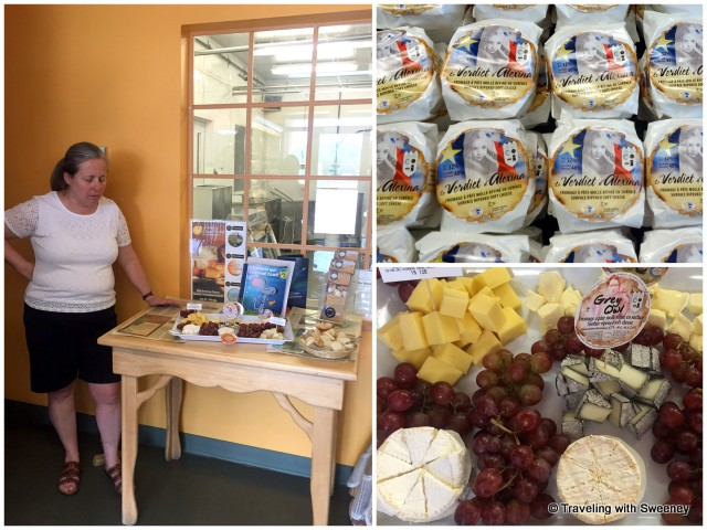 Ginette Bégin, owner of Fromagerie Le Détour in Témiscouata-sur-le-Lac (Notre-Dame-du-Lac), describing cheese selections, including award winner Le Verdict d'Alexina and their popular goat cheese, Grey Owl