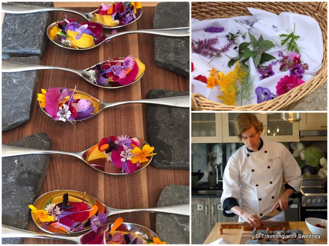 """Métis Bloom Spoon"""", a fresh and aromatic treat created by Chef Ferry with edible flowers picked from the garden"""