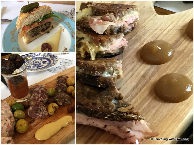 Lunch at Côté Est: Guinea fowl burger with jam, peppers, and cheese; grilled cheese and ham sandwich with pear butter; and sampler of regional meats