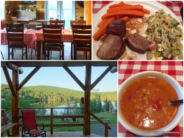From top left: Domain Valga dining room; our comfort food meal of pork loin, orzo and lentil soup; the gorgeous view from the front porch of the inn
