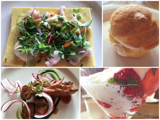 Brunch at Estevan Lodge: Omelet with chives, northern shrimp, geranium mayonnaise (top left); Homemade maple ham, grilled tomatoes, mustard sprouts (bottom left); desserts (right)