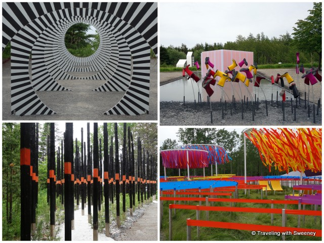 """Selected works from the 16th International Garden Festival from top left: """"Making Circles in the Water"""", """"Se mouiller (la belle échappée), """"Line Garden"""", and """"Afterburn"""""""