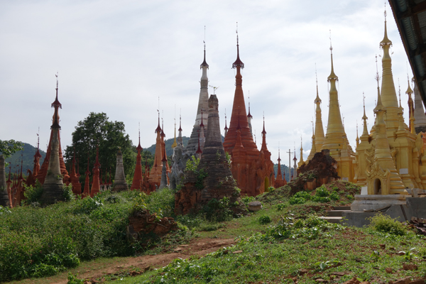 Varied pagoda pieces on the giant pagoda chessboard that is Nyaung Ohak