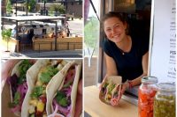 """Service with a smile adds to the enjoyment of these delicious fresh tacos (""""The Fin"""" between """"The Birds"""") at Victory Taco"""