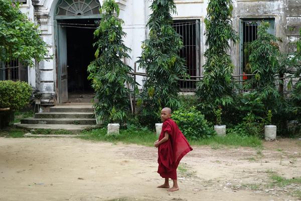 Young monk making his way, Yangon monastic school