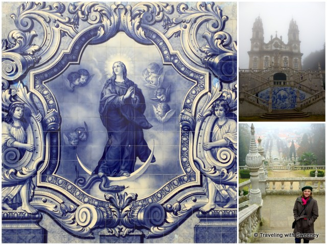 Gorgeous azulejo tiles adorn the terraced staircase from the city center to the Shrine of Our Lady of Remedies in Lamego — seen here in the morning fog