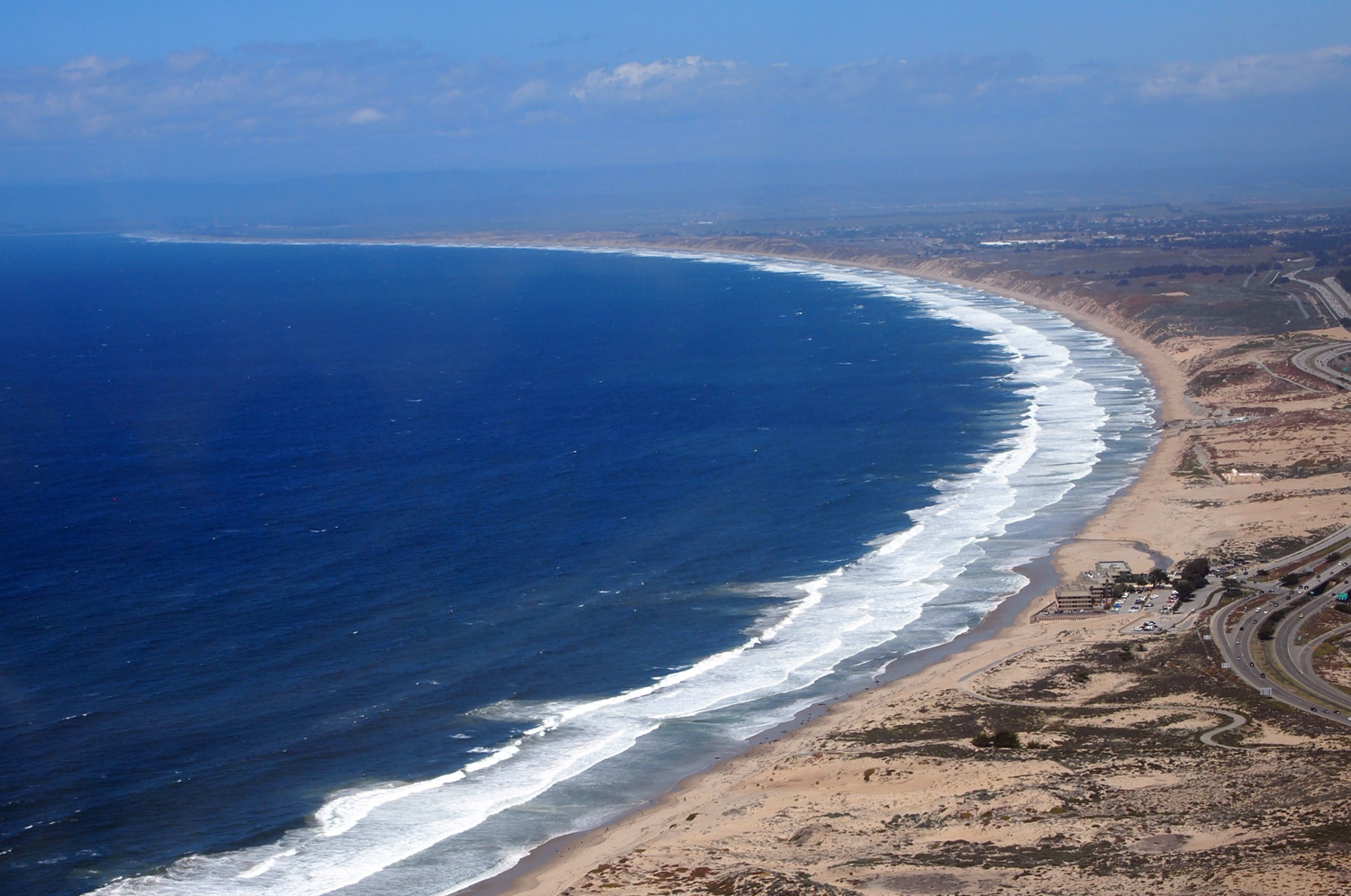 helicopter view of Monterey Bay
