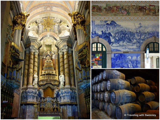 Clockwise from left: Ornate altar in Clérigos Church; azulejo murals in the São Bento railway station; oak casks with port wine at Real Companhia Velha cellars