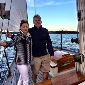Everett and his wife Gayle sailing off the coast of Maine